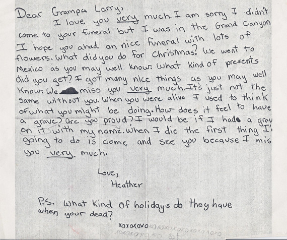 Little Girl Writes Adorable Letter To Grandpa After