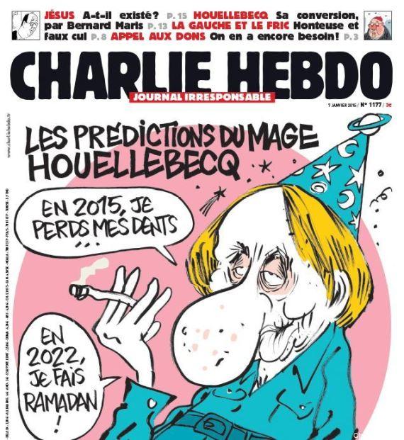 copertina charlie hebdo michel houellebecq