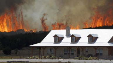 Flames near Texas home