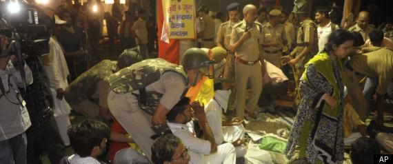 Police raid Baba Ramdev's Yoga Camp at Ramlilia Maidan, New Delhi.