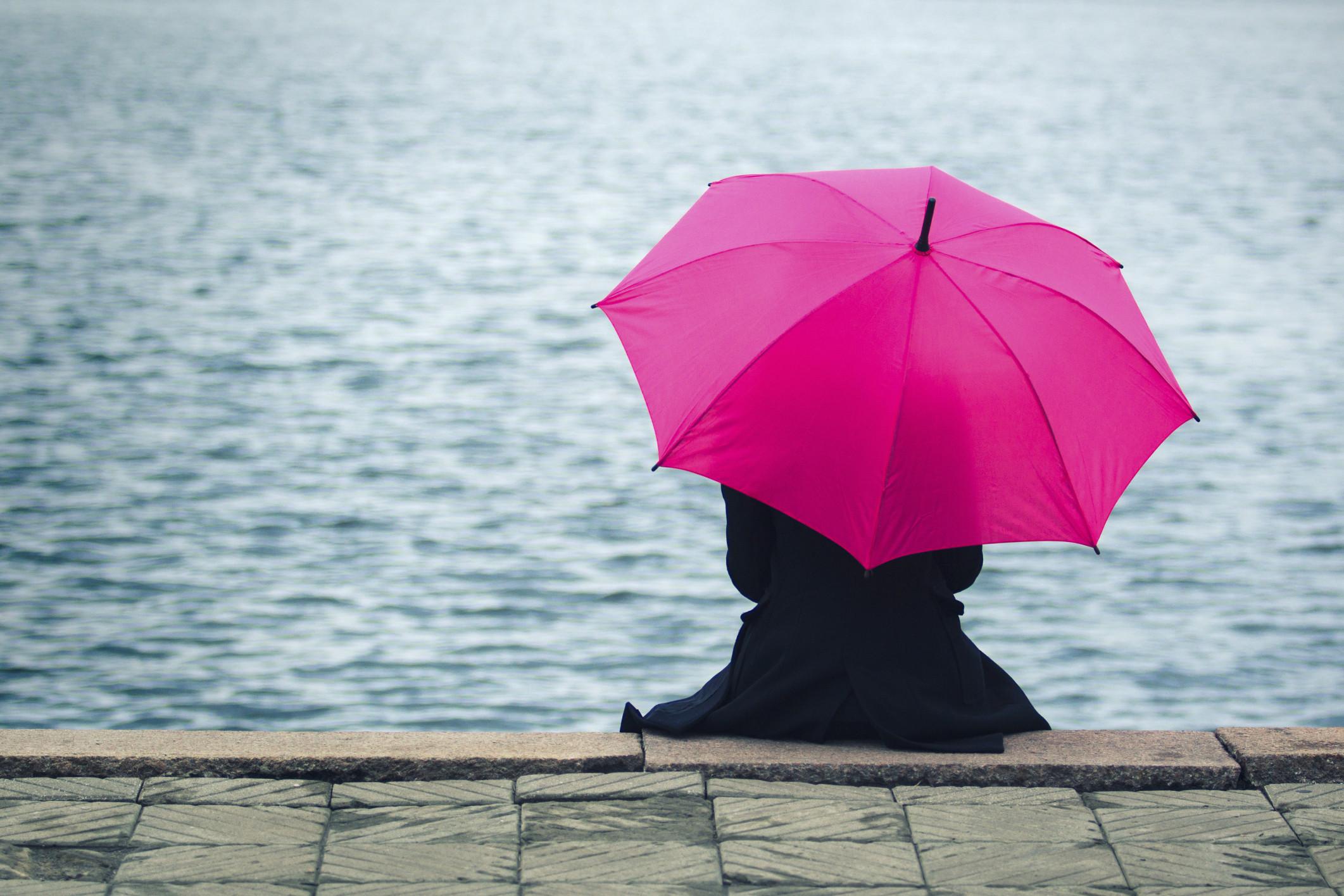 thinking woman water