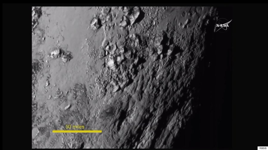 Close-up of mountains of Pluto