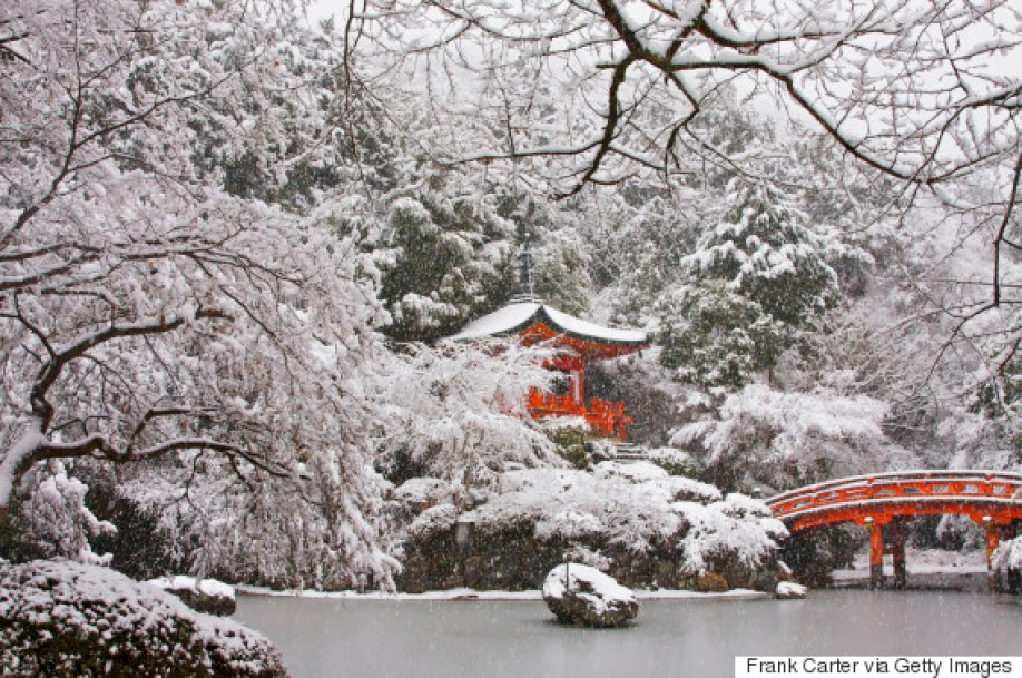 Red temple and bridge peering through the snow covered trees in Japan
