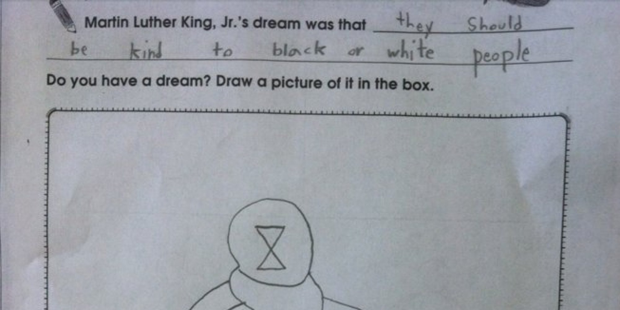 Child S Answer To Martin Luther King Dream School Worksheet Is Rather Unsettling