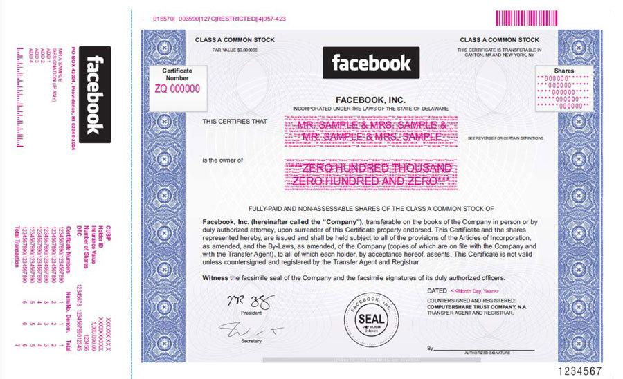 facebook stock certificate this