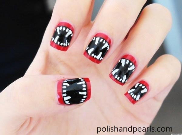 Diy Nail Art Halloween-inspired Vampire Fangs Manicure Video Huffpost