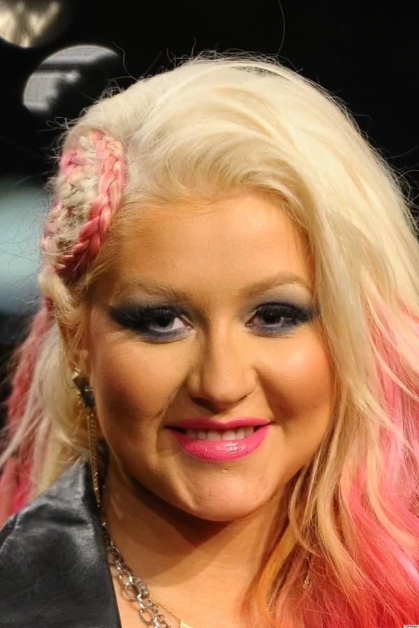 Christina Aguilera Sports Bright Pink Braided