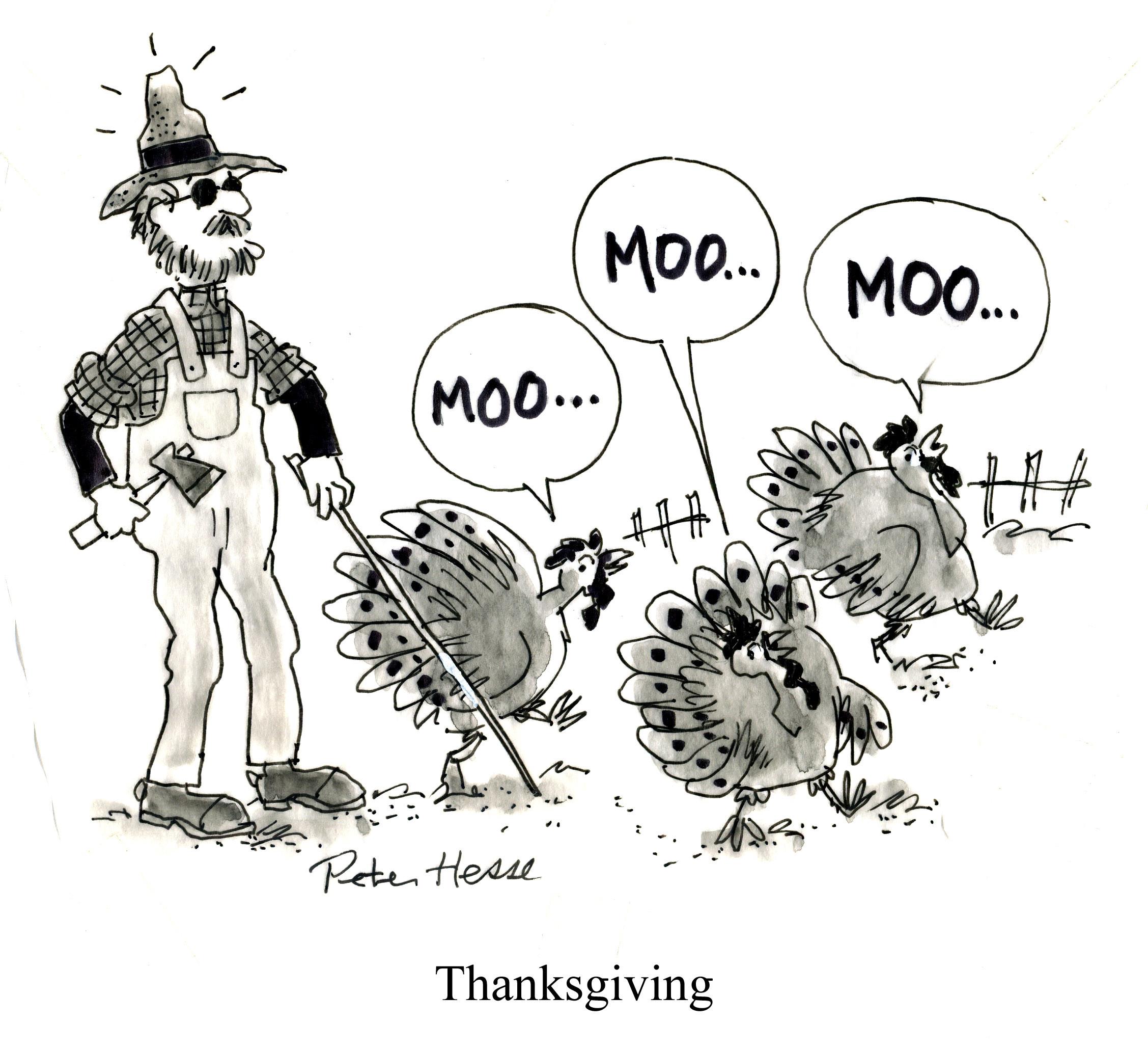 The Blind Farmer On Thanksgiving Cartoon