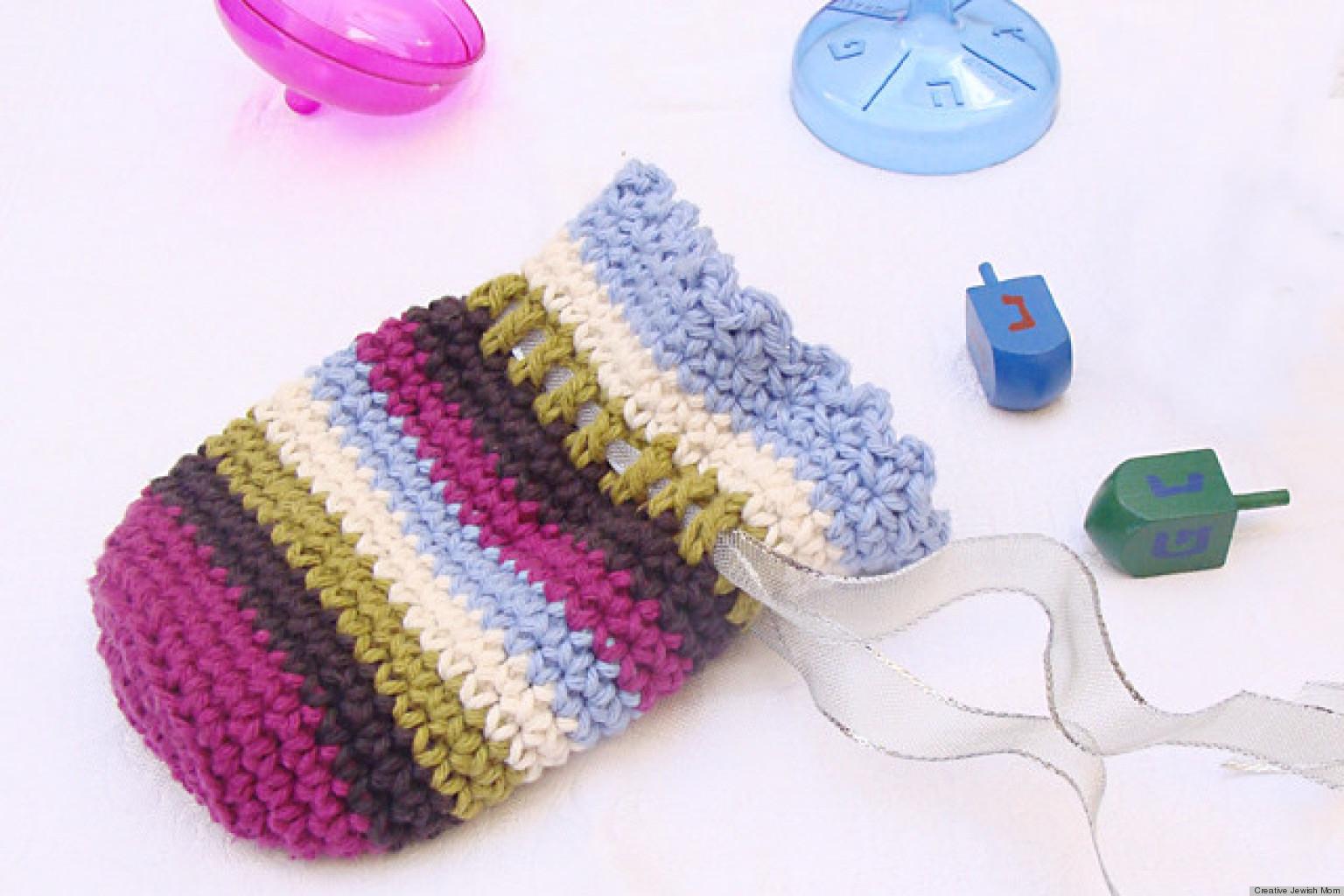 Hanukkah Craft Ideas Striped Crochet Pouch For Gelt