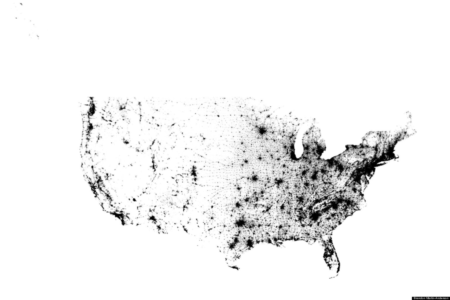 Us Dot Map By Brandon Martin Anderson Shows The Population