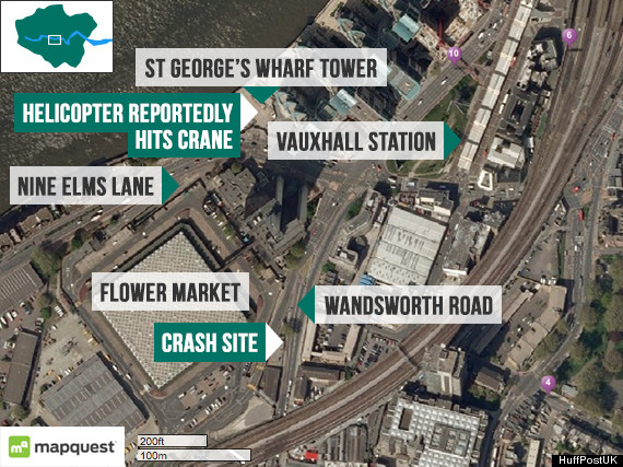 Helicopter crash site London