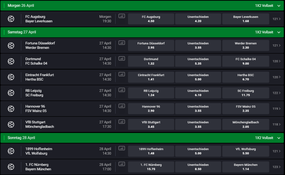 medium resolution of bundesliga 31 spieltag 26 04 2019 28 04 2019 sportwetten forum