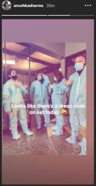 anushka shoot Mom-to-be Anushka Sharma resumes shoot; shares glimpse of her team in PPE kits