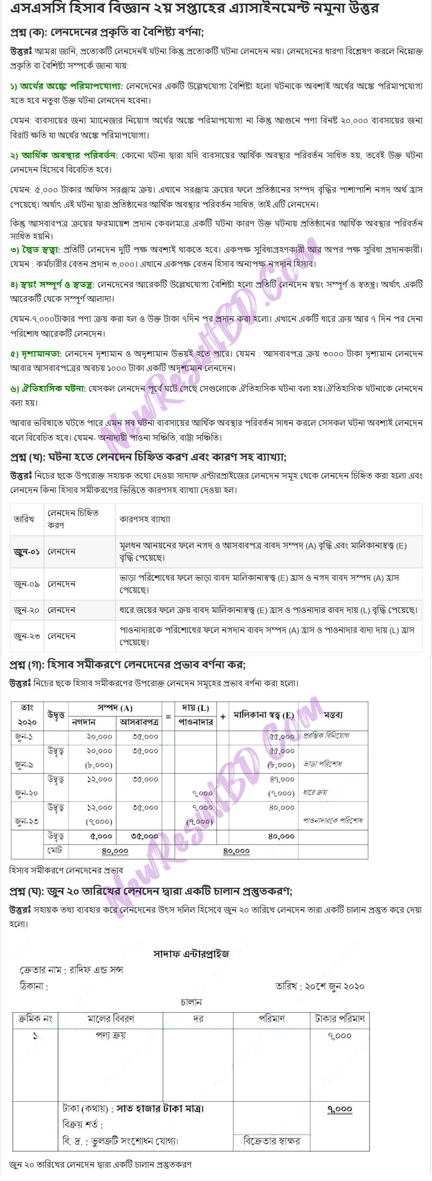SSC-Accounting-2nd-Week-Assignment-2021-Answer