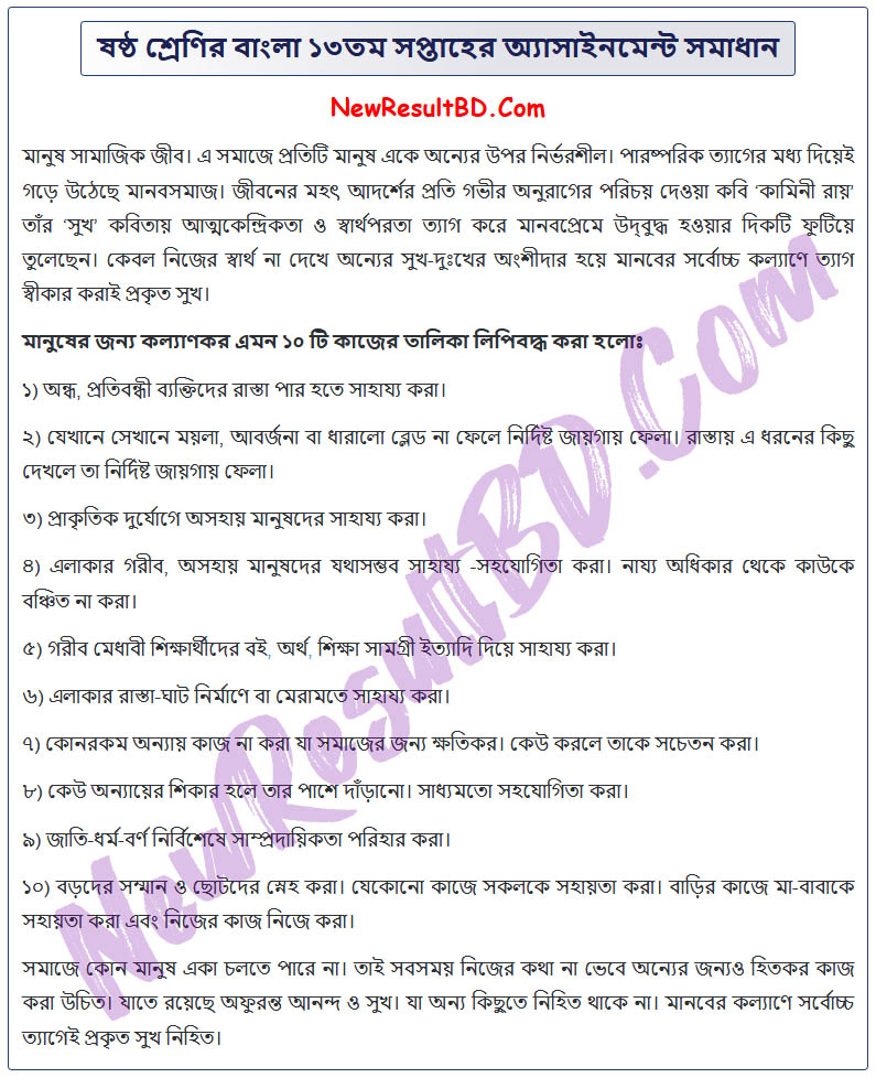 Class-6-Bangla-13th-Week-Assignment-Answer