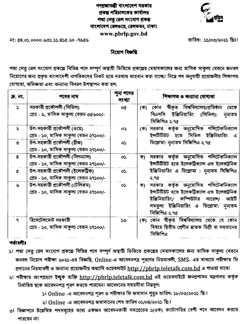Padma Bridge Rail Link Project Job Circular