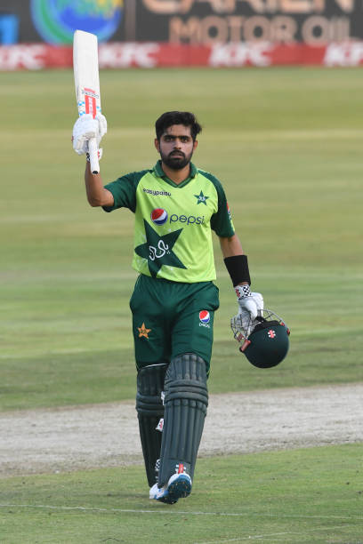 PRETORIA-SOUTH-AFRICA-APRIL-14-Babar-Azam-of-Pakistan-goes-to-his-100-runs-during-the-3rd-KFC-T20-In
