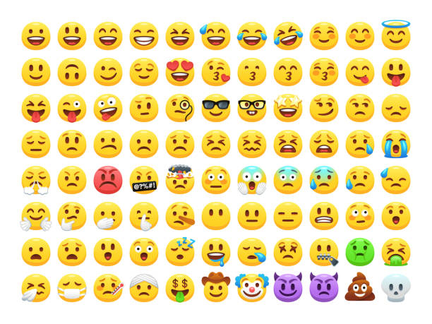 Set-of-cartoon-vector-emoticons-isolated-on-white-background