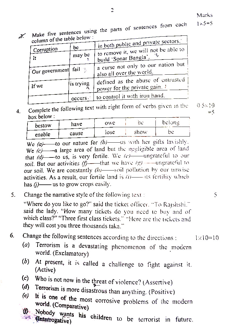 English 2nd Question Solution