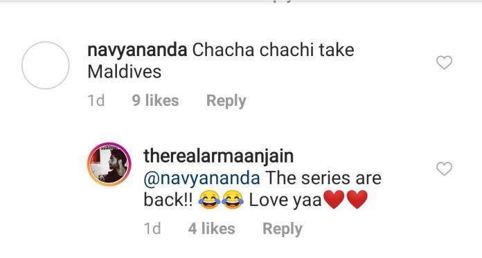Navya Naveli Nanda drops cute comment on Armaan Jain-Anissa Malhotra Jain's photo from Maldivian vacay