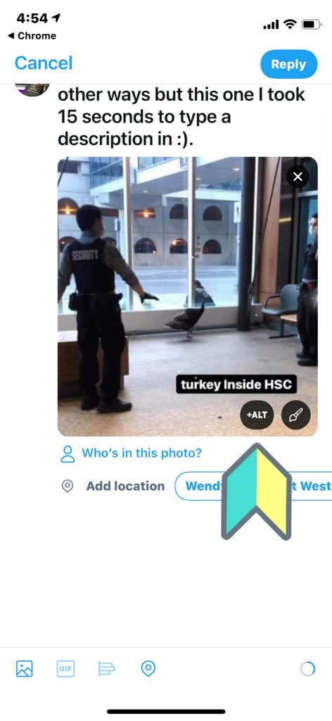 Twitter window with photo uploaded of a turkey inside a hospital reading turkey inside hsc. an arrow points to the alt button.