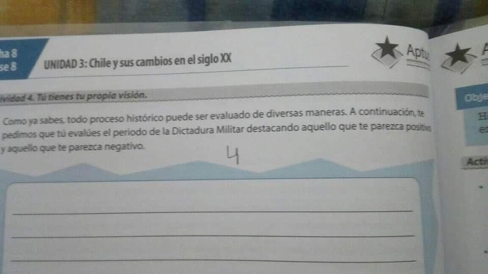 Un texto escolar en Chile pide a niños destacar lo «positivo» de la Dictadura Militar de Pinochet