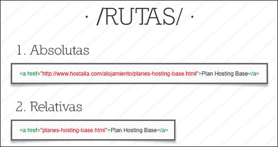 Ejemplo de enlaces de rutas relativas en HTML.