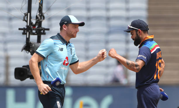 PUNE-INDIA-MARCH-26-England-captain-Jos-Buttler-and-India-captain-Virat-Kohli-at-the-toss-ahead-of-t