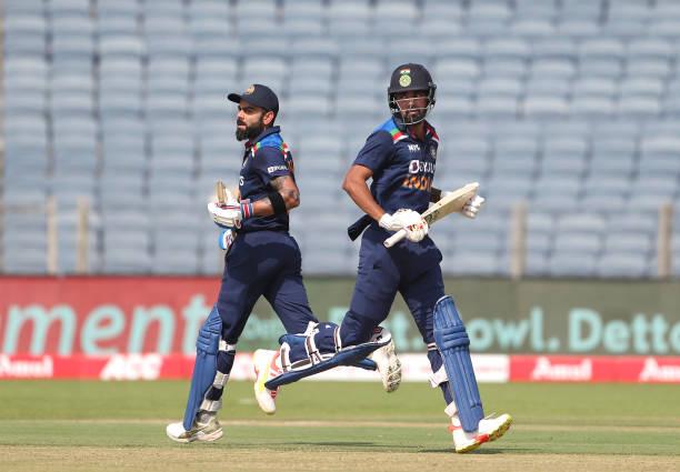 PUNE-INDIA-MARCH-26-India-batsmen-Virat-Kohli-l-and-KL-Rahul-pick-up-some-runs-during-the-2nd-One-Da