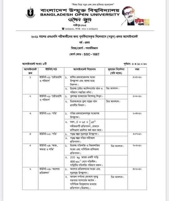 Bangladesh Open University BOU SSC Assignment Answer 2021 Pdf download 43