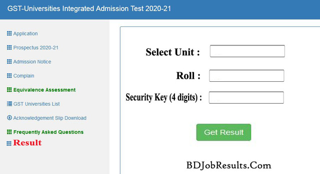 GST Admission Ac Bd Result 2021