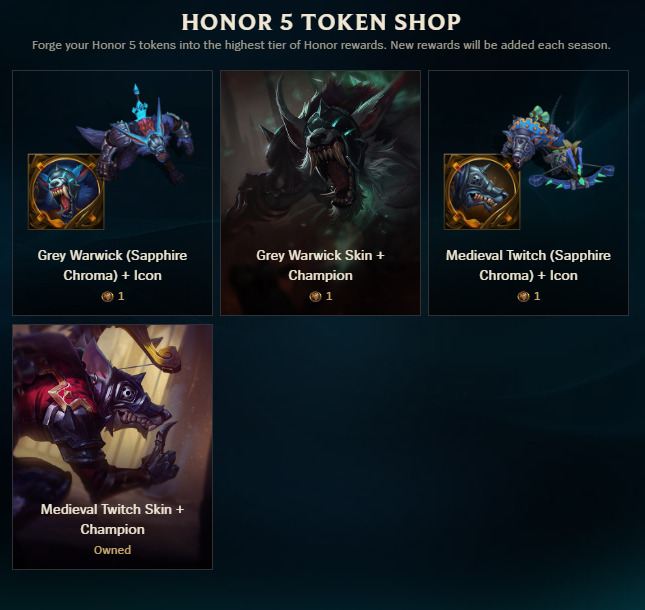 Skins and chromas of honor 5