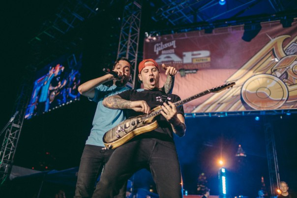 Jeremy McKinnon and Kevin Skaff of A Day To Remember performing