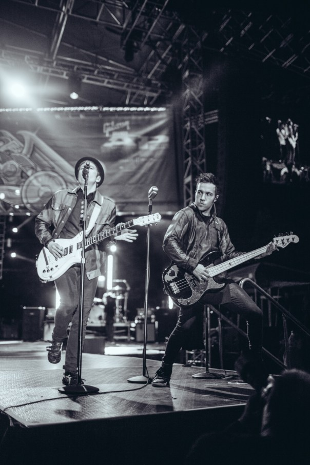 Pete Wentz and Patrick Stump of Fall Out Boy performing