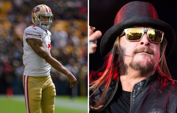 Right: Colin Kaepernick. Photo credit: Mike Morbeck. Right: Kid Rock. Photo credit: Chelsea Lauren Photography