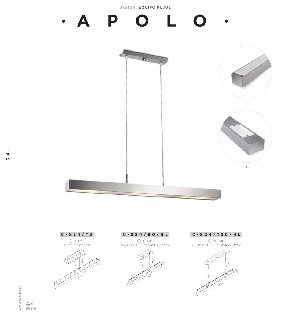 Pujol Iluminacion Apolo Lámpara Colgante 120cm T5 1x54w C