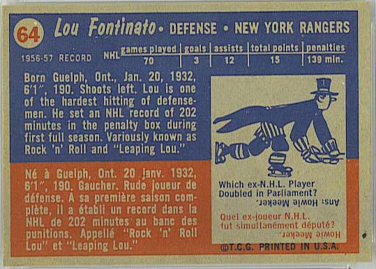 Lou Fontinato - 1957-58 Topps back