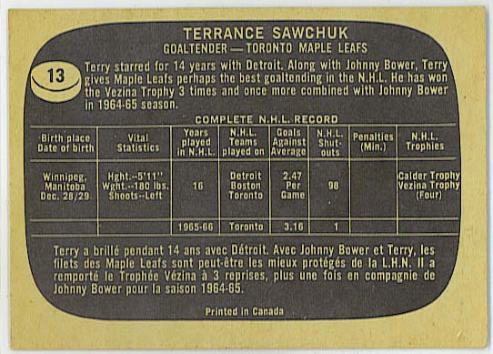 Terry Sawchuk - 1966-67 Topps Hockey back