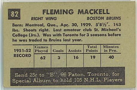 Fleming Mackell - 1952-53 Parkhurst back