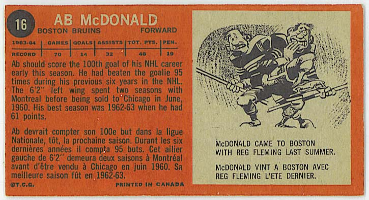 Ab McDonald - 1964-65 Topps Tall Boys back