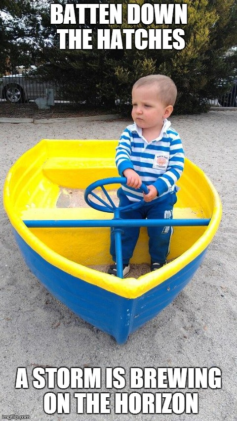 A friend's kid looked like he was ready to set sail.