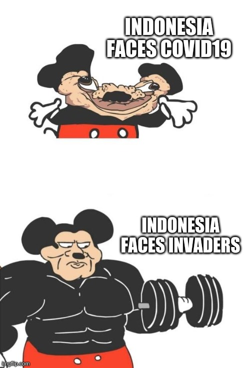 Swole Doge Vs Cheems Indonesia S History Vs Covid 19 Spreads Imgflip
