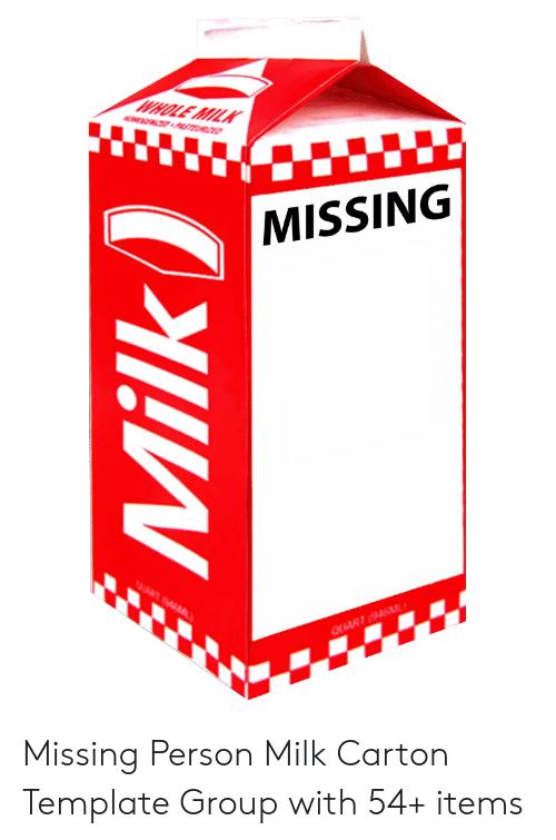 Missing Milk Carton Meme : missing, carton, Blank, Carton, Template, Imgflip
