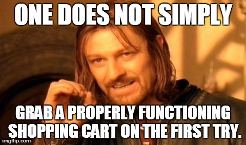 Getting a cart that doesn't make noises when it rolls is like winning the lottery.