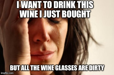 She literally wanted me to wash a wine glass for her when we had a cabinet full of regular glasses.