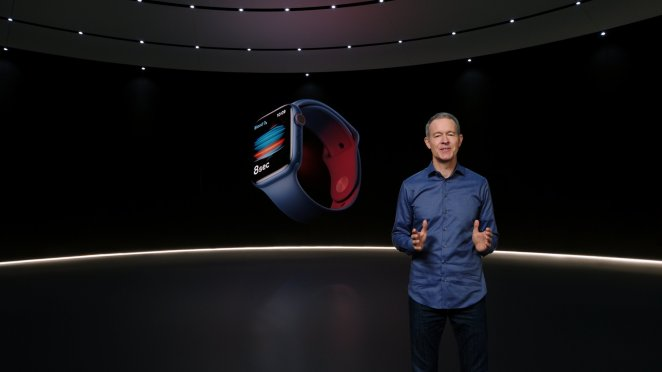 Apple's Chief Operating Officer Jeff Williams unveils Apple Watch Series 6 during a special event at the company's headquarters of Apple Park in a still image from video released in Cupertino, California, U.S. September 15, 2020. Apple Inc/Handout via REUTERS. NO RESALES. NO ARCHIVES THIS IMAGE HAS BEEN SUPPLIED BY A THIRD PARTY.