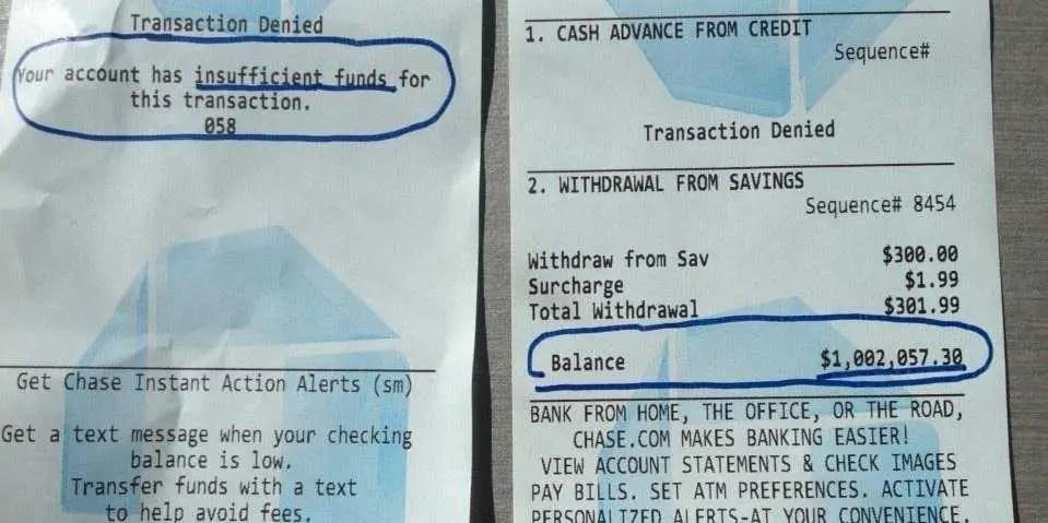 Atm Receipt 1 Million Cash Balance Business Insider