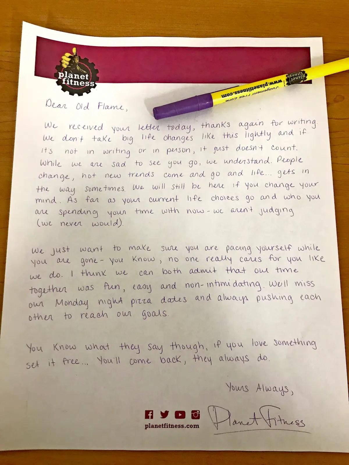 Man Writes Formal Breakup Letter To Planet Fitness Insider