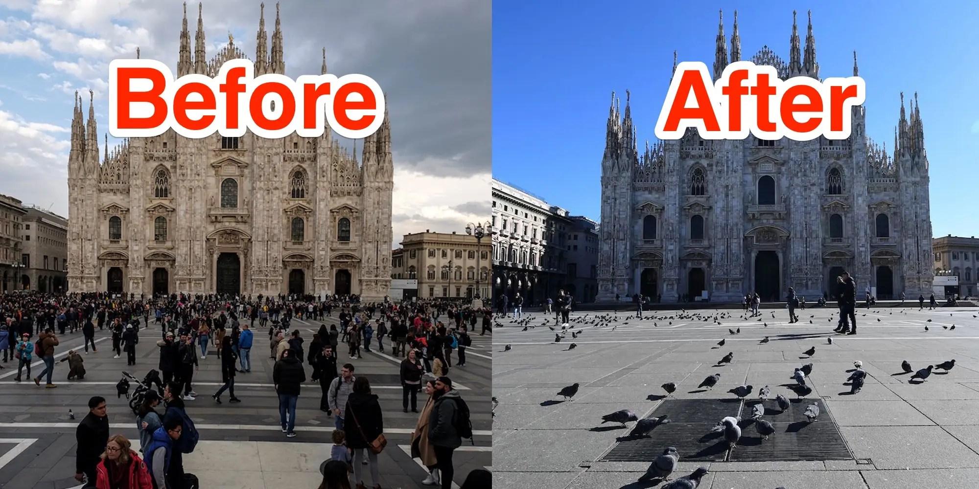 Coronavirus: Before and after photos show Europe landmarks empty ...