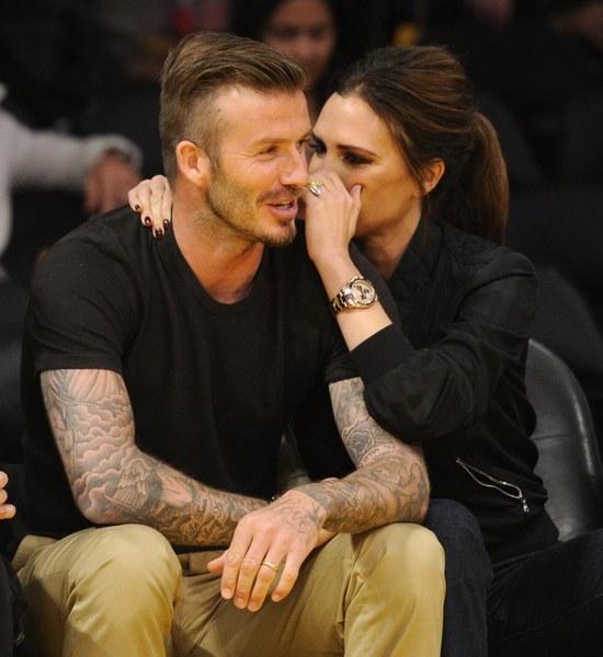Victoria Beckham And David Beckham Kissing Victoria